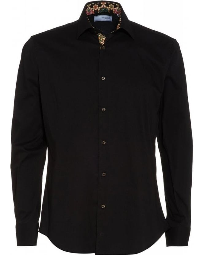 Poggianti Shirts Black Daisy Insert Slim Fit Shirt