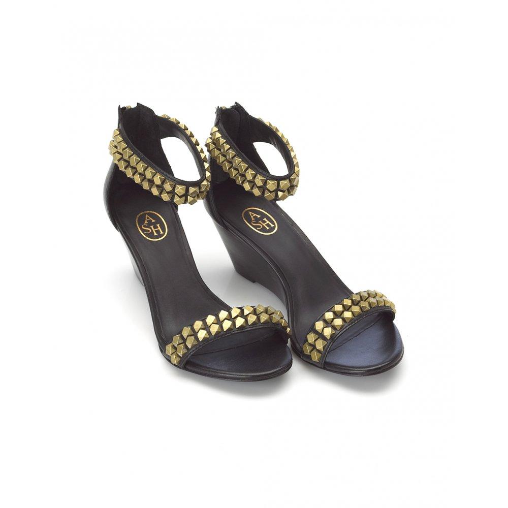ash footwear black gold stud low wedge sandals