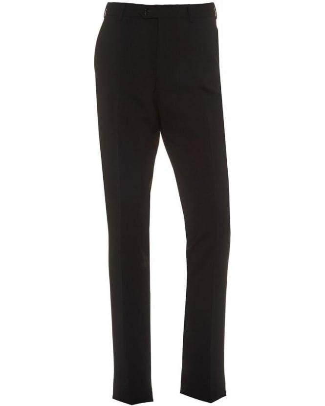 Armani Collezioni Black Flat Front Trousers Wool Stretch Trouser