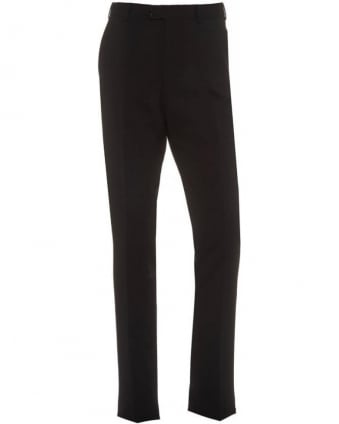 Black Flat Front Trousers Wool Stretch Trouser