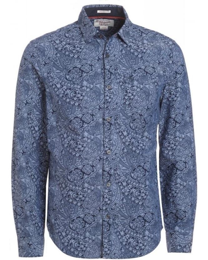 Original Penguin Black Iris Navy Paisley Print Oxford Heritage Slim Fit Shirt