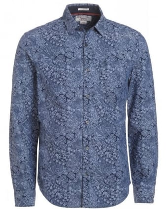 Black Iris Navy Paisley Print Oxford Heritage Slim Fit Shirt