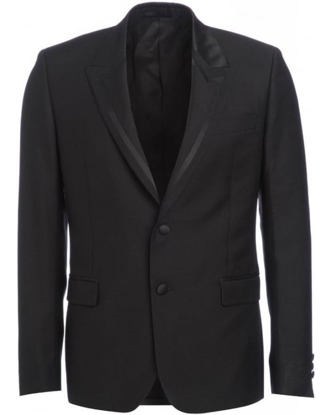 Versace Collection Black Jacket, Two Button Stripe Lapel Blazer