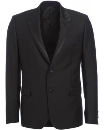 Black Jacket, Two Button Stripe Lapel Blazer