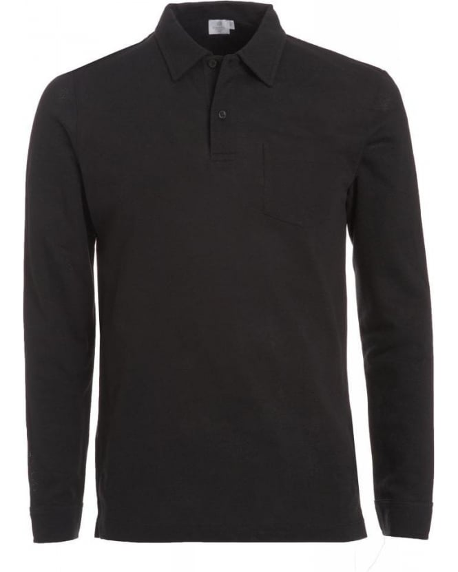 Sunspel Black Long Sleeve 'Riviera' Polo Shirt