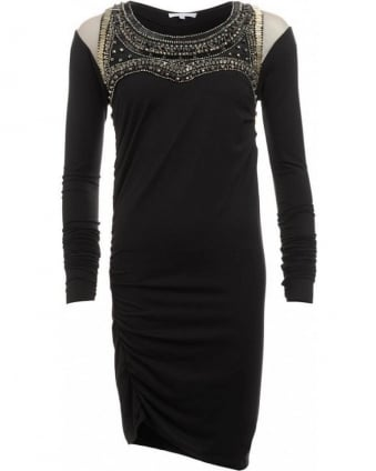 Black Metal Stud Jersey Dress
