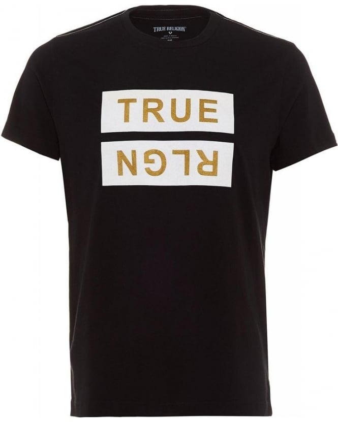 True Religion Jeans Black Metallic Flock Print Logo T-Shirt