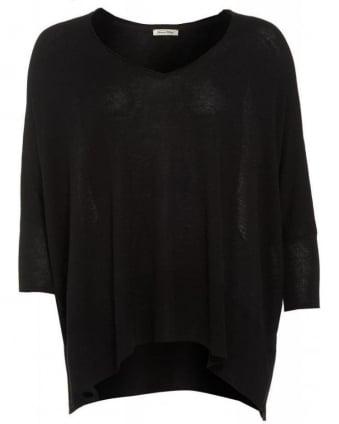 Black Monahan One Size V-Neck Wool Poncho