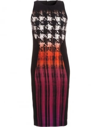 Black Multi Sleeveless Houndstooth 'Julia' Dress