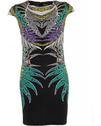 Black Multicoloured Reptile Leaf Print Dress