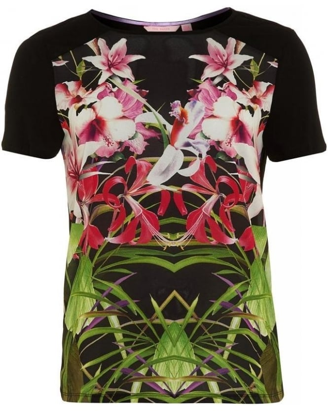 Ted Baker Black 'Renella' Mirrored Tropics T-Shirt