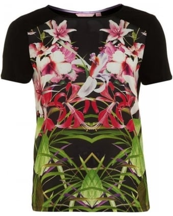 Black 'Renella' Mirrored Tropics T-Shirt