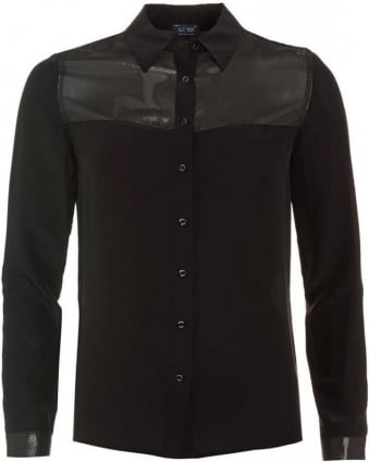 Black Satin Shirt Metallic Blouse