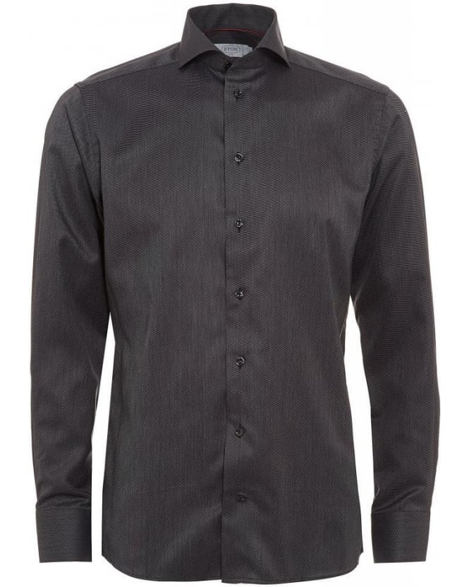 Eton Shirts Black Slim Fit End on End Shirt