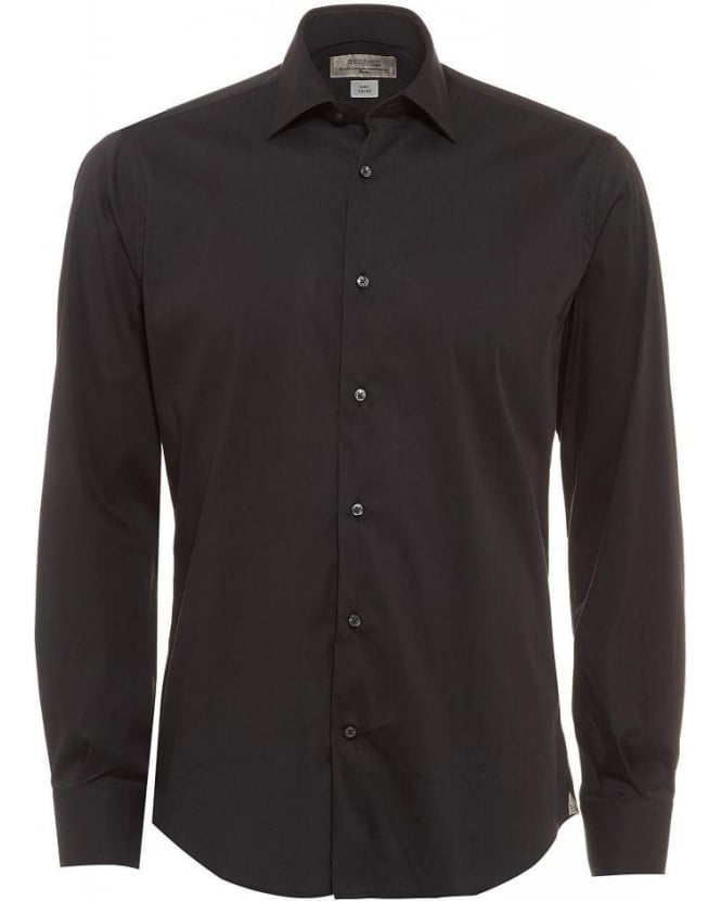Poggianti Shirts Black Slim Fit Stretch Cotton Shirt