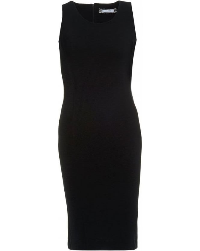 I Blues Black Stretch Jersey Ribbed 'Polka' Dress