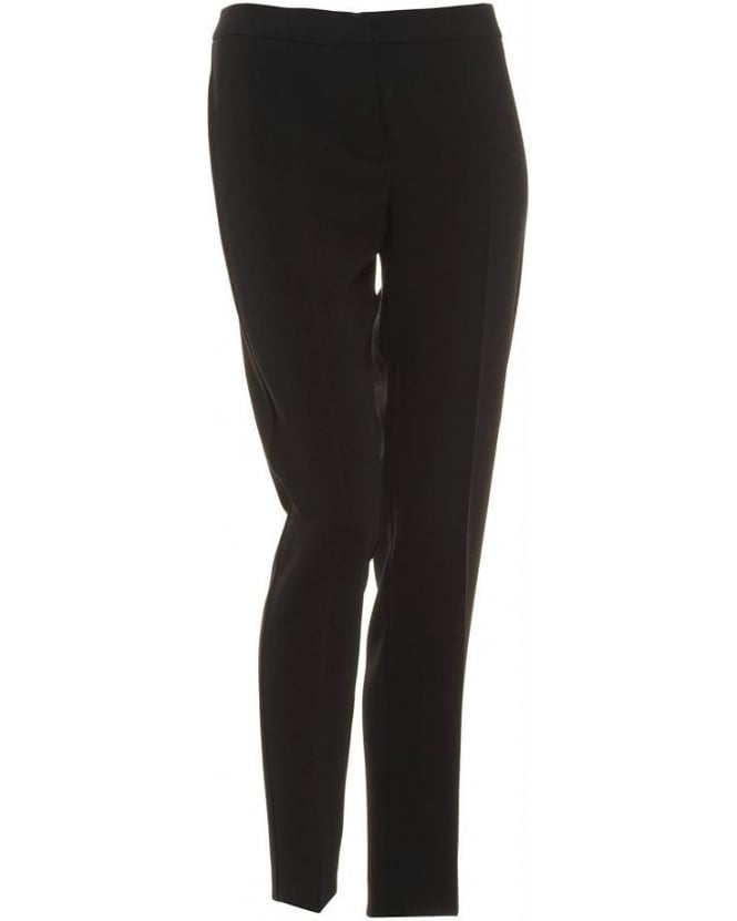 I Blues Black Tapered Leg Mid-Rise 'Lillo' Trousers