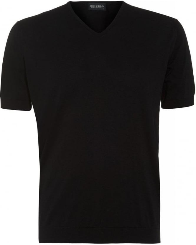John Smedley Black V-Neck Slim Fit 'Braedon' T-Shirt