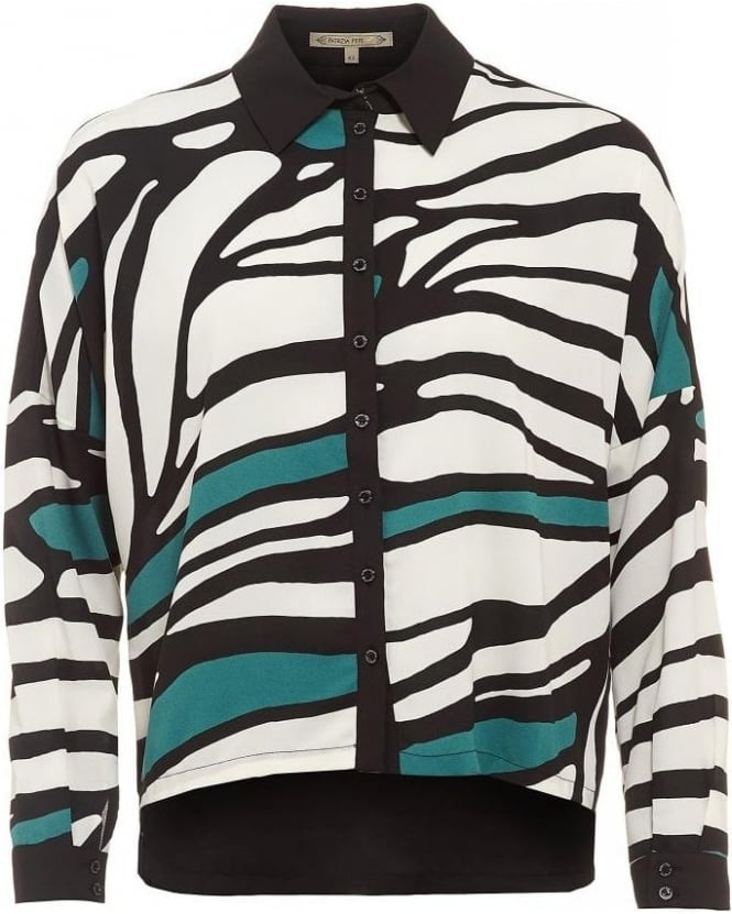 Patrizia Pepe Black, White and Green Abstract Print Shirt