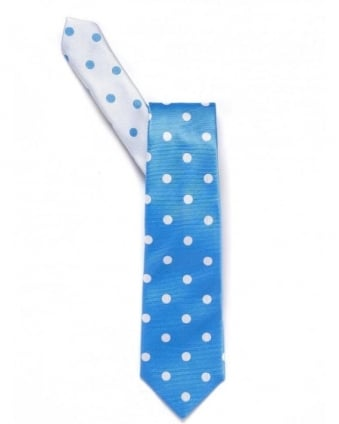 Blue And White Large Spot Tie