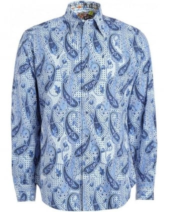 Blue and White Paisley Print 'Bellmore' Shirt