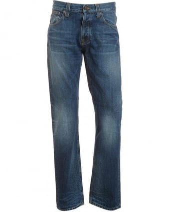 Blue, Average Joe Organic Vacation Worn Mid Light Jean