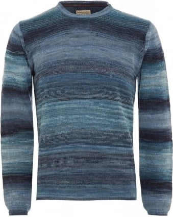 Blue Dale Printed Yarn Sweater