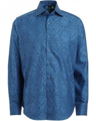 Blue Dragonfly Shirt with Paisley Diamonds