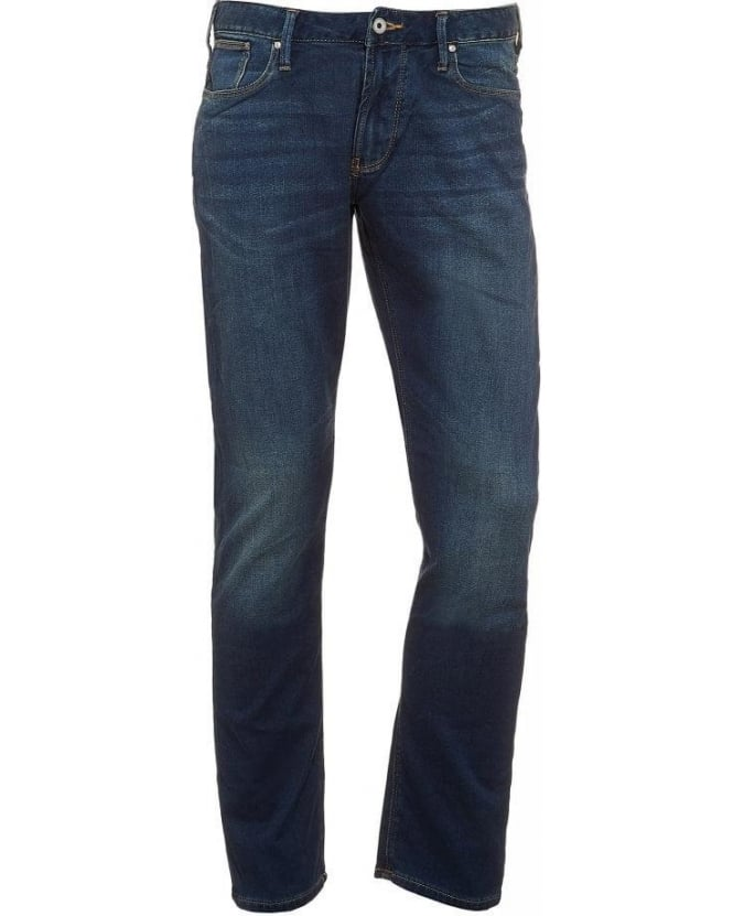 Armani Jeans Blue Fade Wash Slim Fit Jeans
