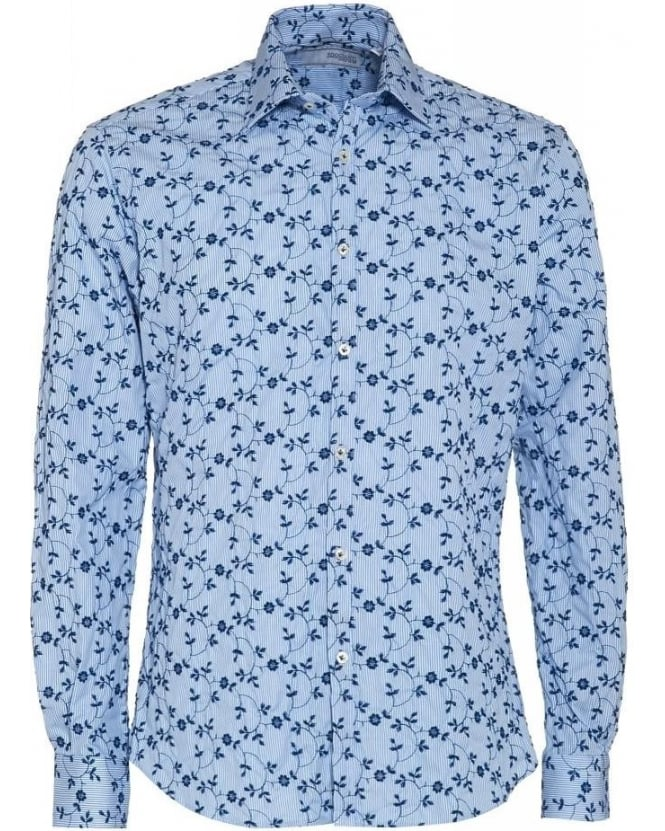 Poggianti Shirts Blue Fine Stripe and Floral Slim Fit Shirt