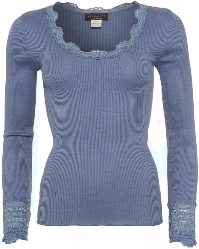 Rosemunde Blue Flint Scoop Neck 'Benita' Lace T-Shirt