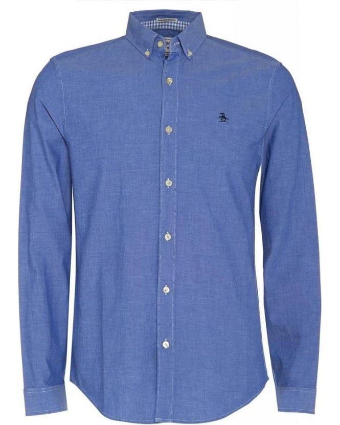 Original Penguin Blue Heritage Slim Fit Oxford Long Sleeve Shirt