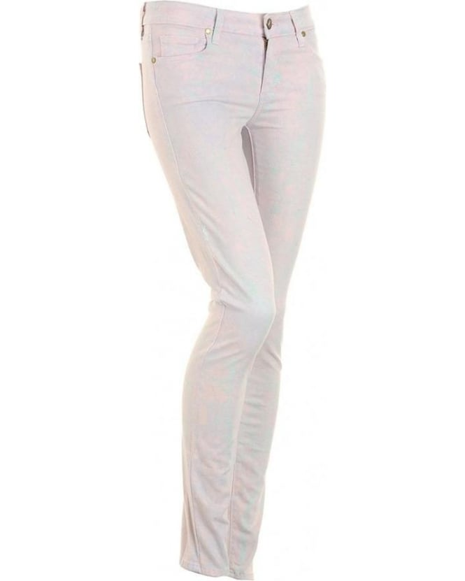 Paige Jeans Blue Marble Effect Verdugo Skinny 'Candy' Jeans