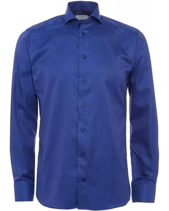 Eton Shirts Blue Slim Fit End on End Shirt