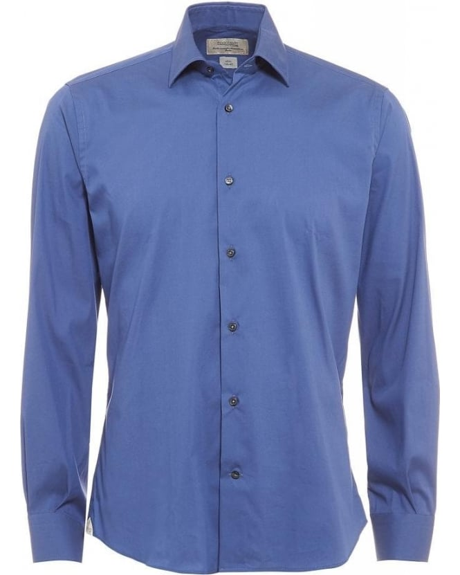 Poggianti Shirts Blue Slim Fit Stretch Cotton Shirt