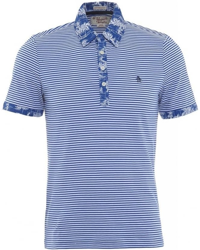 Original Penguin Blue Stripe Palm Tree Print Slim Fit Polo Shirt