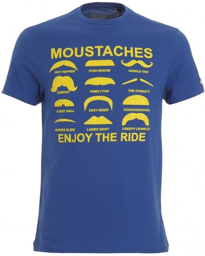 Original Penguin Blue T-shirt with Graphic Moustache Tee