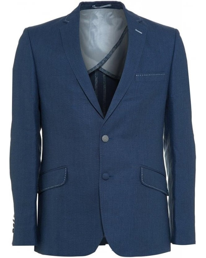 Holland Esquire Blue Trend Fit Slim Herringbone Jacket
