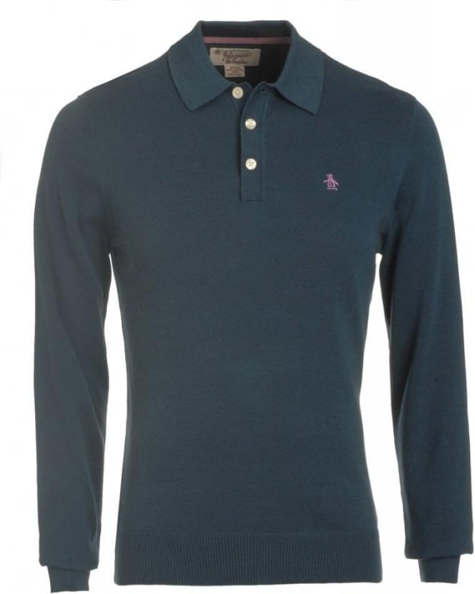 Original Penguin Blue Wing Teal Long Sleeve Slim Fit Polo Shirt