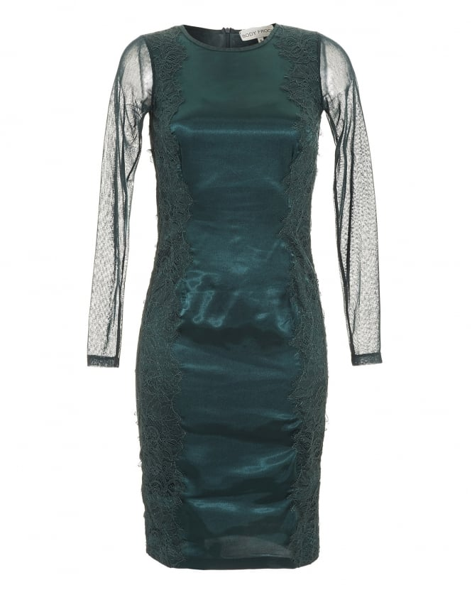 Body Frock Womens Camila Dress, Emerald Green Embroidered Lace Dress