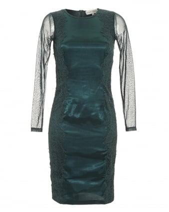 Womens Camila Dress, Emerald Green Embroidered Lace Dress