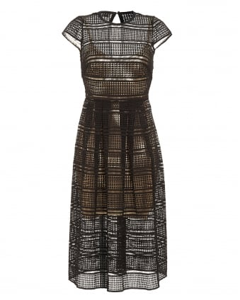 Womens Chloe Dress, Jet Black Gold Geometric Lace Dress