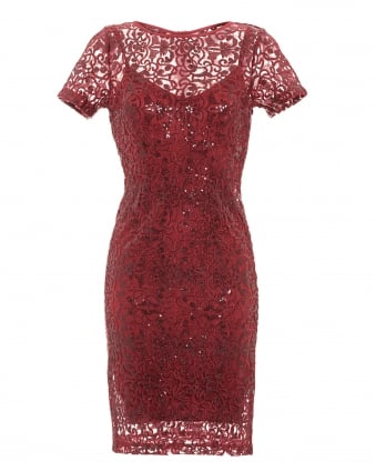 Womens Darcey Dress, Garnet Red Filigree Lace Sequin Dress