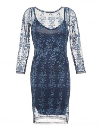 Womens Elsa Dress, Sapphire Blue Floral Lace Dress