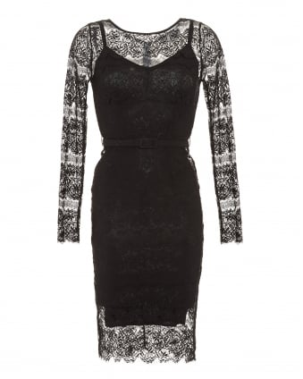 Womens Lisa Dress, Black Filigree Lace Dress