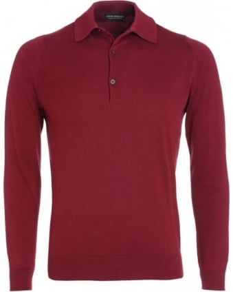 Bordeaux Long Sleeve Slim Fit 'Exeter' Polo Shirt