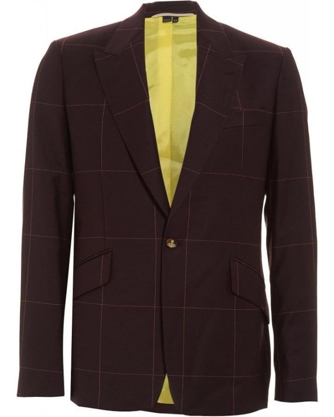 Vivienne Westwood Man Bordeaux Window Pane Check Suit Jacket