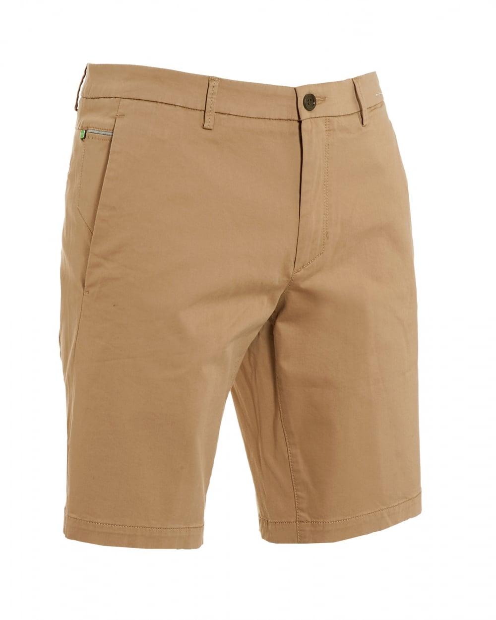 890d94e45ab0 Hugo Boss Green Mens Liem4-W Beige Cotton Slim Fit Shorts