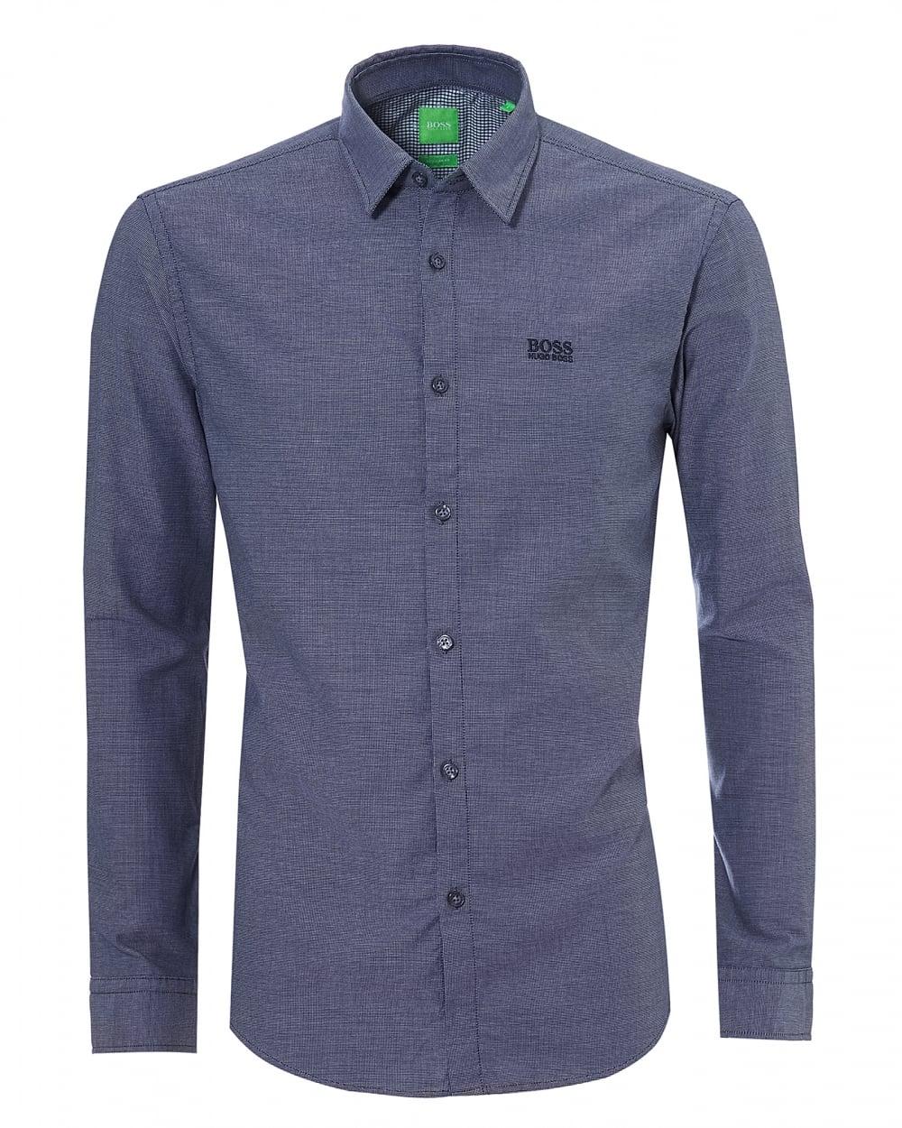 838eaf34fcb Hugo Boss Green Mens C-Buster R Pin Dot Check Navy Blue Shirt
