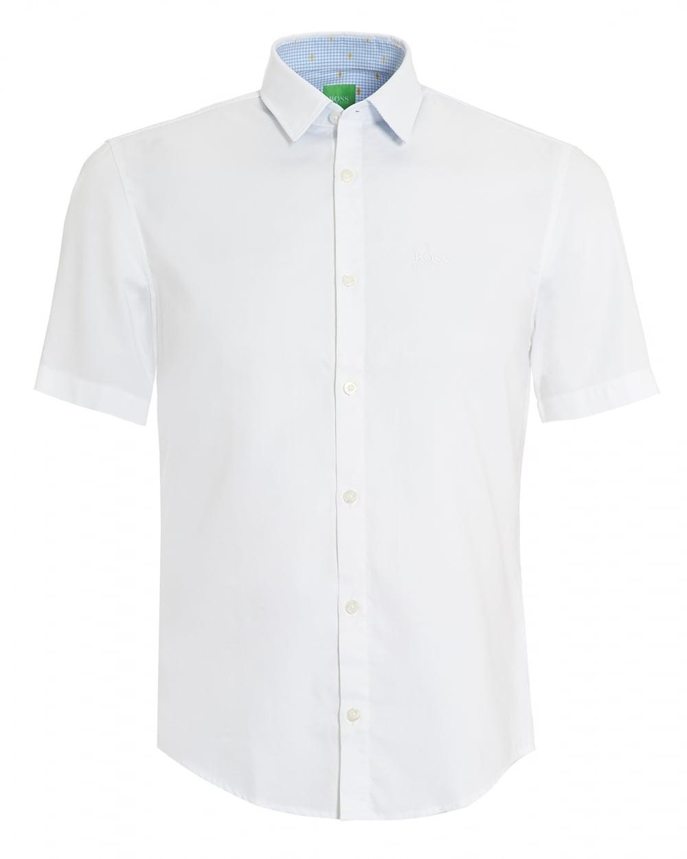 cec352a5f7d0 Hugo Boss Green Mens C-Busterino Plain White Short Sleeve Shirt